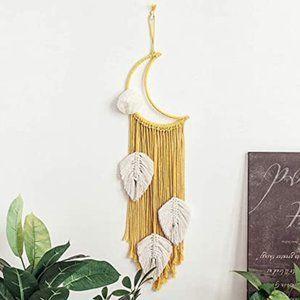 Boho Moon & Feather Macrame Wall Hanging Decor